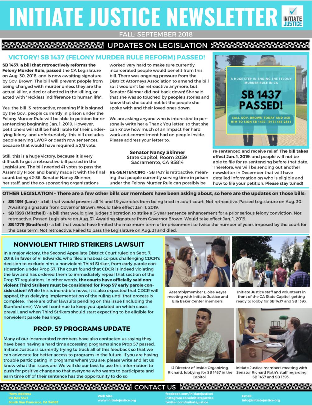 Newsletter #5 – Fall 2018