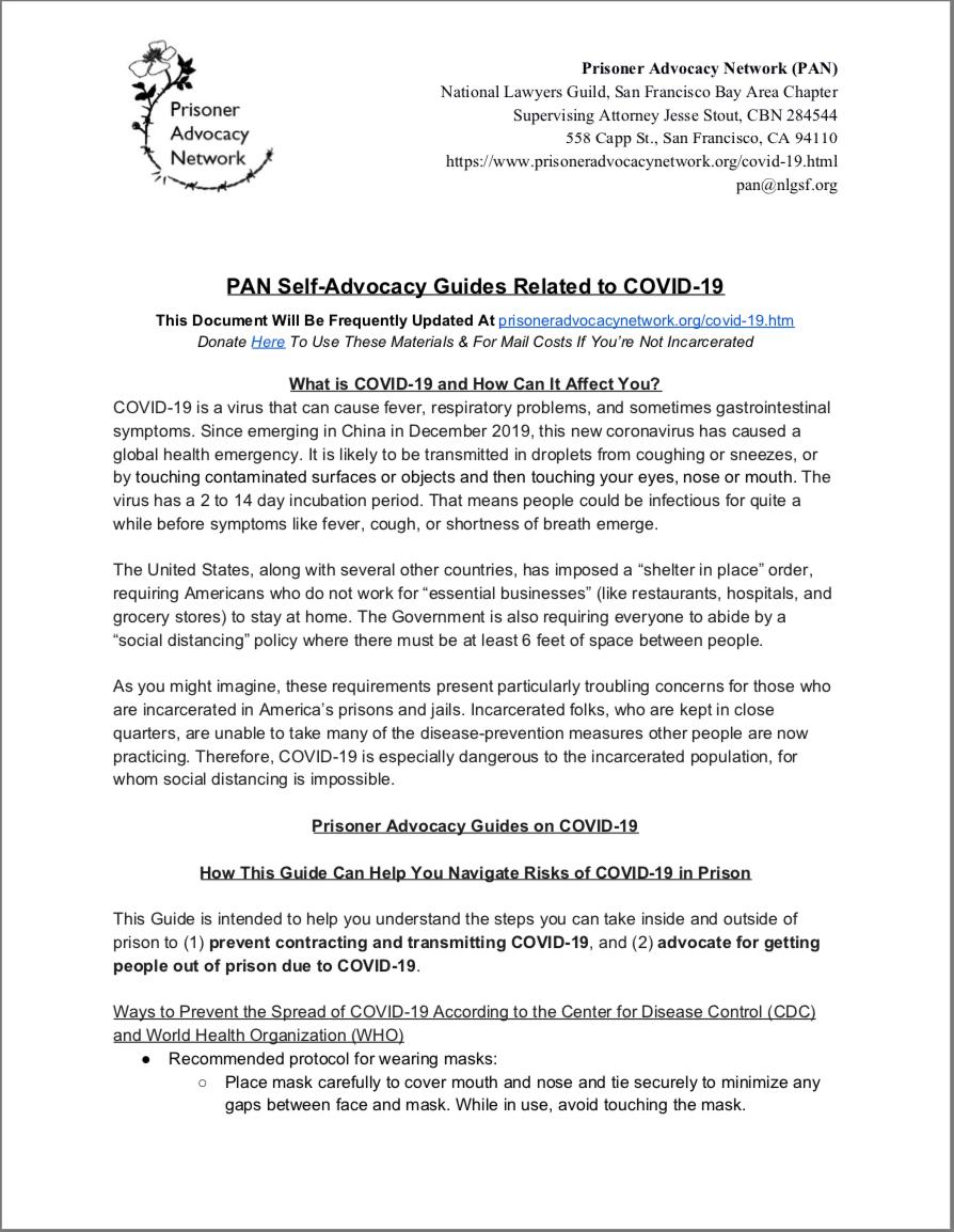 PAN – COVID-19 Self-Advocacy Guide *INTRO*