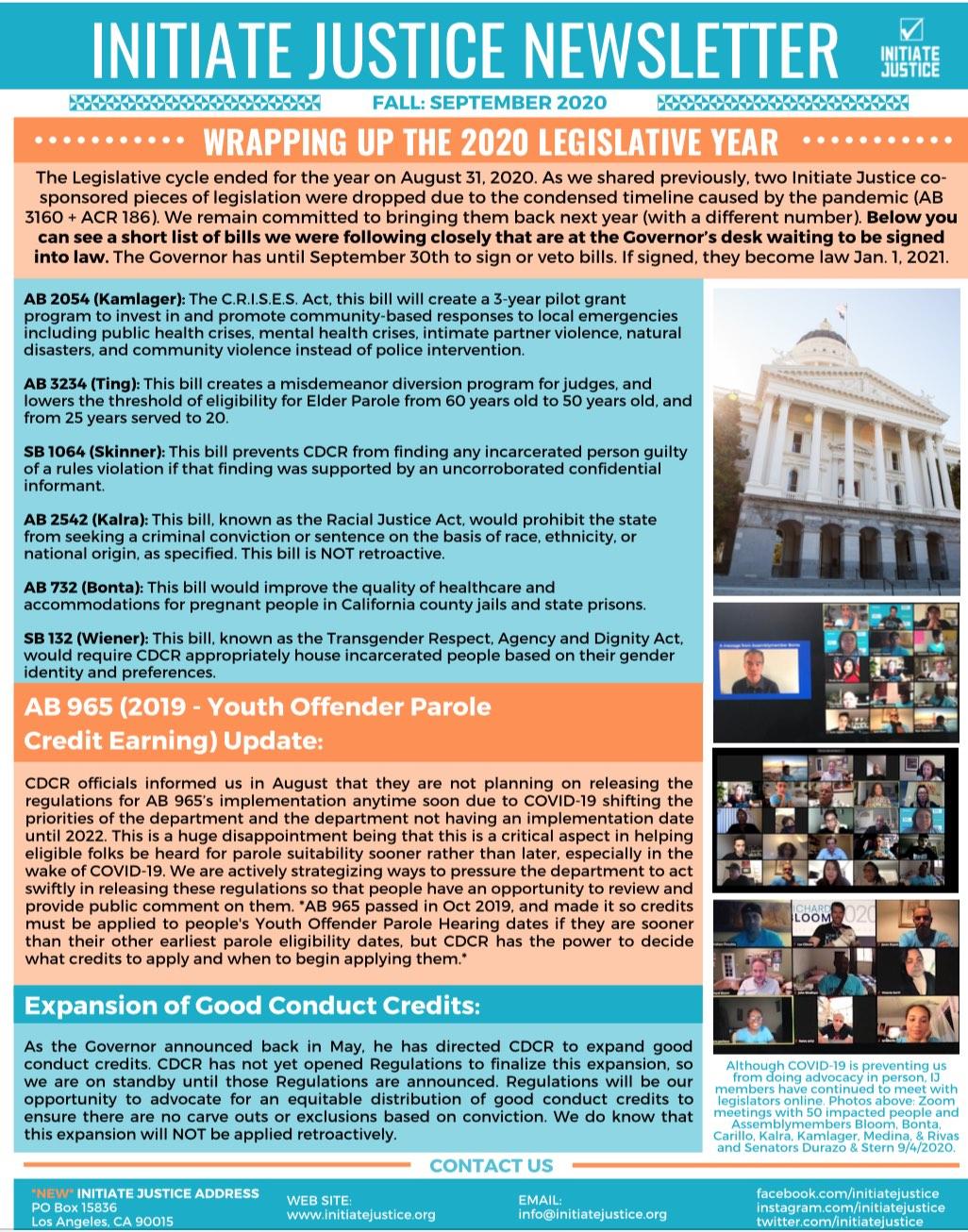 Newsletter #13 – Fall 2020